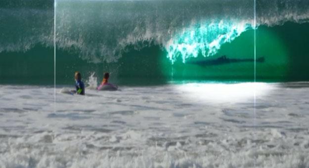 بالصور .. أم تصور قرشا أبيض يسبح خلف إبنها
